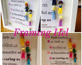 Disney minifigure personalised frame,perfect for mum's,daughters,sisters and bridesmaids,a wonderful bespoke gift