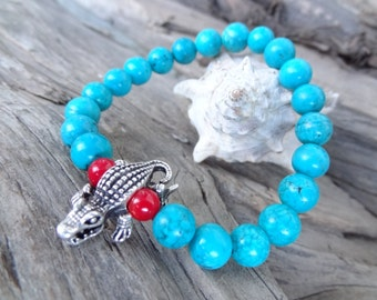EXPRESS SHIPPING,Turquoise Gemstone Bracelet,Crocodile Bracelet,Turquoise&Coral Bracelet,Stone Jewelry,Mother's Day Gifts,Gift for Her