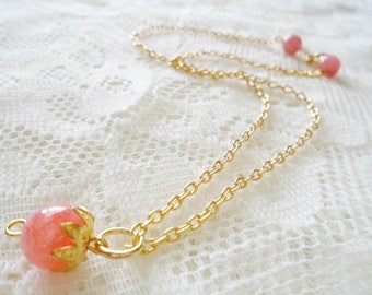 Rhodochrosite gold plated pendant necklace, Healing gemstone necklace