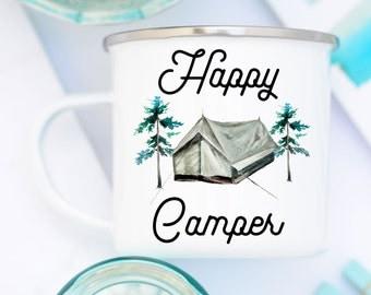 Happy Camper Enamel Mug, Enamel Camping Mug, Happy Camper Mug, Enamel Camp Mug, Camping Mug, White Camp Mug, Happy Camper Camp Mug, Camping
