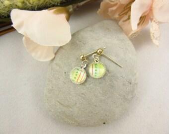 Kids Earrings Handmade Orange and Green Dangle Earrings