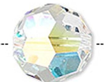 6mm Round Swarovski Crystal Aurora Borealis Beads (package of 12 beads)