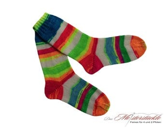 Socks hand knitted size 39-40 neon stripes striped unique