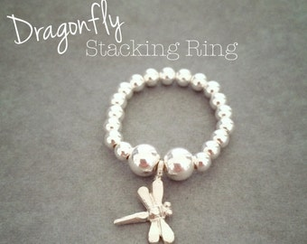 Sterling Silver Dragonfly Stacking Ring