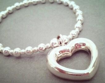 Sterling Silver XL Open Heart Charm Bracelet
