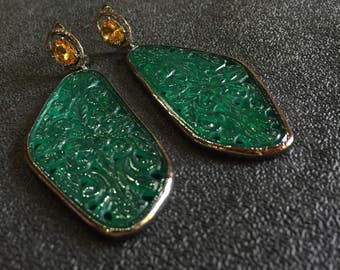 New!! Sparkly Carving of Green Onyx Gemstone,Carved Green Onyx Earrings ,Carving,Earrings,Diamonds and Green Onyx Earring,Victorian Earrings