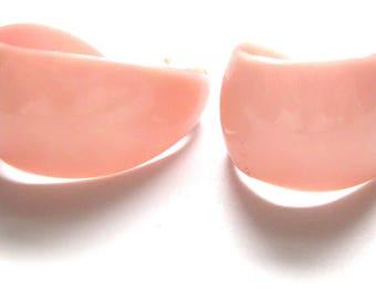 1960s Hoops | Vintage Earrings | Vintage Hoops | Pink Earrings | 1960s Earrings | Baby Pink Earrings | Pierced Hoops