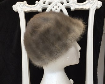 Vtg GREY MINK HAT/British Best Quality and Condition Fur Hat /Custom Made Hat/Glamorous Grey Fur Hat