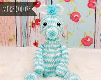 Handmade Zebra, Stuffed Zebra, Knit Zebra, Stuffed Animal, Baby Gift, Zebra Plush, Soft Toy, Baby Girl Gift, Zebra Doll, Knit Stuffed Toy