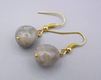 Labradorite Earrings,  Labradorite Nuggets,  gold plated, minimalist, simply earrings