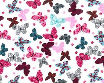 Colourful butterflies printed fabric cotton poplin multicolour design boho look- Metre - Fat Quarter - 25cm x 25cm remenent