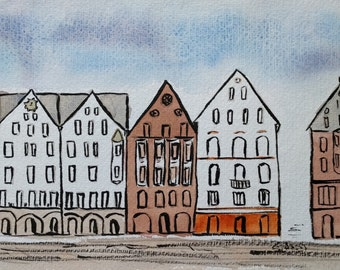 Bergen Two, Ink and Watercolour Landscape Painting, Bergen, Norway, Art