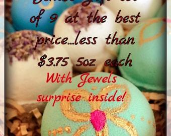 Handmade Organic Luxurious Bath Bombs/Gift Set/9&6 pieces/on sale/4.5-5oz each bath bomb / mother's Day spa set /mother's Day gift set/