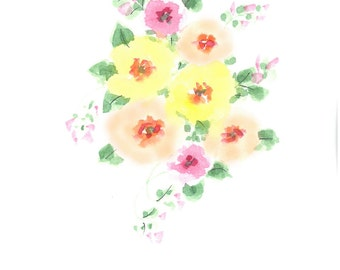 Original watercolor greeting card. One of a kind. soft pastel flowers.
