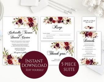 Wedding Invitation Template, Invitation Suite Template, Marsala Wedding Invitation, Editable Wedding Invite, Instant Download, Printable