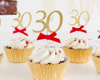 AGE CUPCAKE TOPPERS. Custom age & colour. 18,21,40,50,60th Birthday party .Gold and Silver Glitter. Party Decoration.Bow.Adult