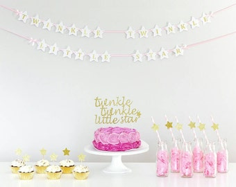 Birthday banner Twinkle twinkle little star. Wall banner. Pink and gold. Birthday boy, birthday girl. Smash cake. First birthday party.