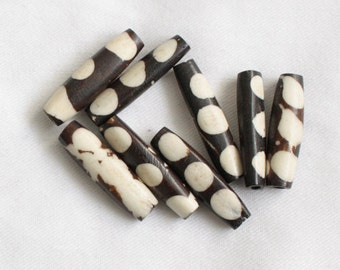 African Beads Kenyan Bone Ethnic 'Batiked' 25 mm Tubes 8-Pack for Jewellery and Crafts 10-Pack