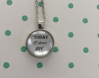 FREE Shipping - Handcrafted Vintage Quote Necklace - Today I Choose Joy - quote jewelry, joy necklace, choose joy necklace