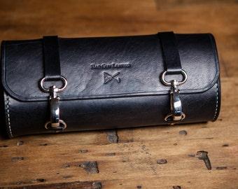 motorcycle tool bag /fork bag made out of 8/9 oz cowhide leather,leather tool roll, motorcycle leather  bag, harley bag,