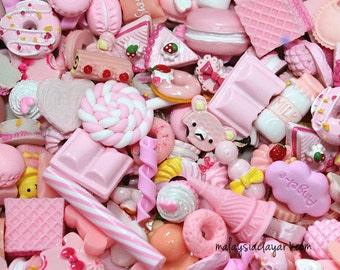 Pink Collection - 10 Pcs Assorted Pink Decoden Kawaii Cute Cabochons Cute Beads Candy Sweets Phone Casing