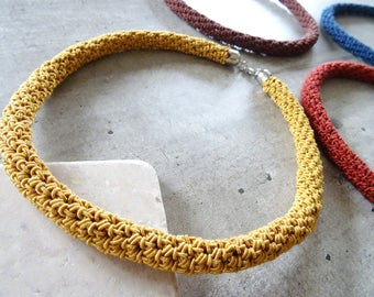 Crochet tube necklace // handmade // jewelry // gift for women // statement necklace // gold necklace // rose // blue // pink // oker