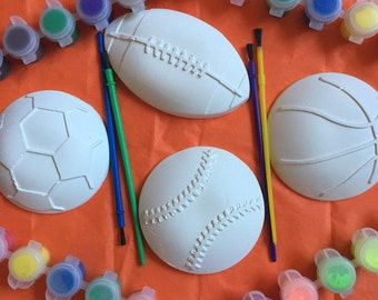 Sports. Football .Baseball. Soccer. Basketball DIY. Made to paint. Ceramic. Very large . Price for 1 - 3.49 Creative. Birthday.