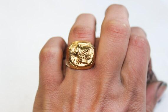Athena Gold Coin Rings 22k Gold Men Ring 22k Women Ring