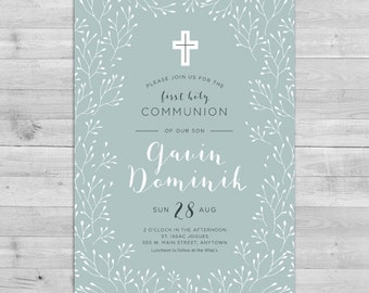 First Communion Invitation Boy, Communion Invitations Boy, Boy First Communion Invitations Printable Religious Invitations Boy 1st Communion
