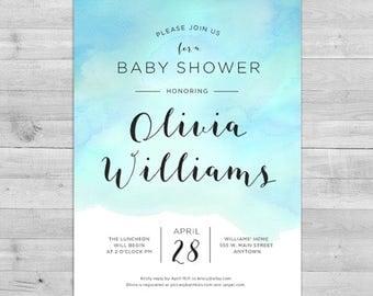 watercolor baby shower invitation gender neutral baby shower invitations baby shower invitation boy