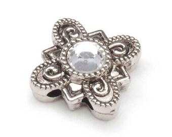 Swarovski Rhinestone Slider Beads - Silver and Crystal Slider Beads - Rhinestone Slider Beads - Swarovski Crystal Slider Bead - Silver Bead