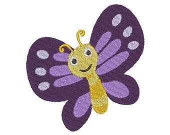 "2 sizes happy spring butterfly - machine embroidery design 4x4"" & 2.5x2.5"""