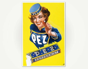 Pez Vintage German Candy Advertising Poster Art Print - Vintage Pez Poster Art
