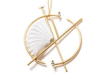 Origami Necklace, Origami jewelry, Paper Jewelry, Paper Necklace, Long Pendant Necklace, Long Gold Necklace,  Large Pendant Necklace,