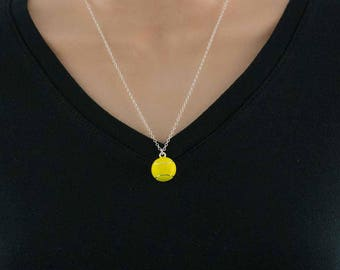 Tennis ball charm necklace