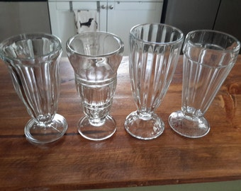 Soda Fountain Glasses, Set of Four Missmatched