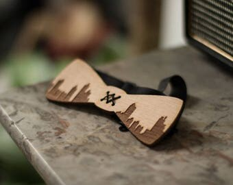 "Bow tie pattern ""buildings"" laser engraving wooden"