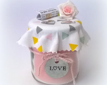 Candle gift Valentine rose, label metal LOVE