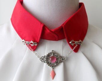 Jewelry collar bow tie silver, silver metal wheels, pink glass bead and sequin pink