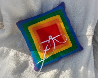 Rainbow Ring Bearer Pillow