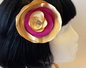 Gold and Pink Flower Hair Clip