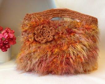 Shades of Orange Knitted Handbag