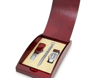 Golf Pen, Divot Tool & Money Clip Gift Set In Cherrywood Box - G265A