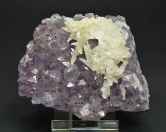 Deep Royal Violet Thin Amethyst Cluster With Frosty Calcite! 249 grams! From Brazil!