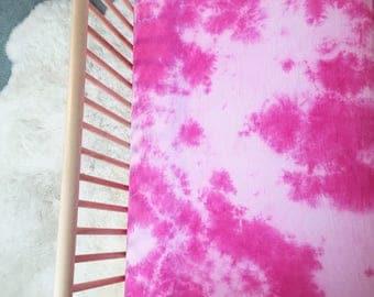 Pink Shibori Crib Sheet