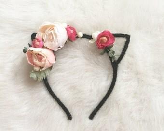 Black Kitty Ear Headband with Pink & Cream Flower Crown