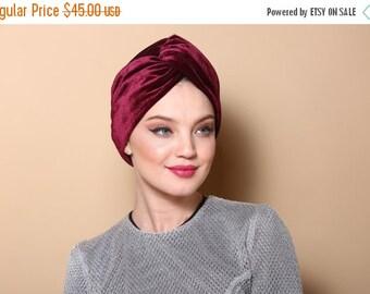 burgudy Turban, burgudy velvet turban, gypsy turban, bohemian turban,  stretch turban, luxury turban, velvet turban headband