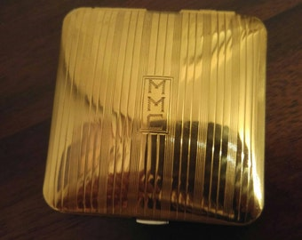 Vintage Art Deco style Volupte gold toned monogrammed MMC mirrored compact powder case