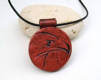 Jewelry for men - Eagle - polymer clay pendant - tooled leather head - gift for man