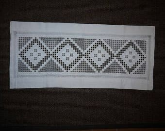 Hardanger Embroidery - Table Cloth - Linen - Vintage -  Scandinavian - Hand craft -